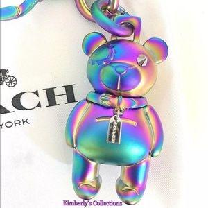 COACH Iridescent 3D Bear Keychain Handbag Charm